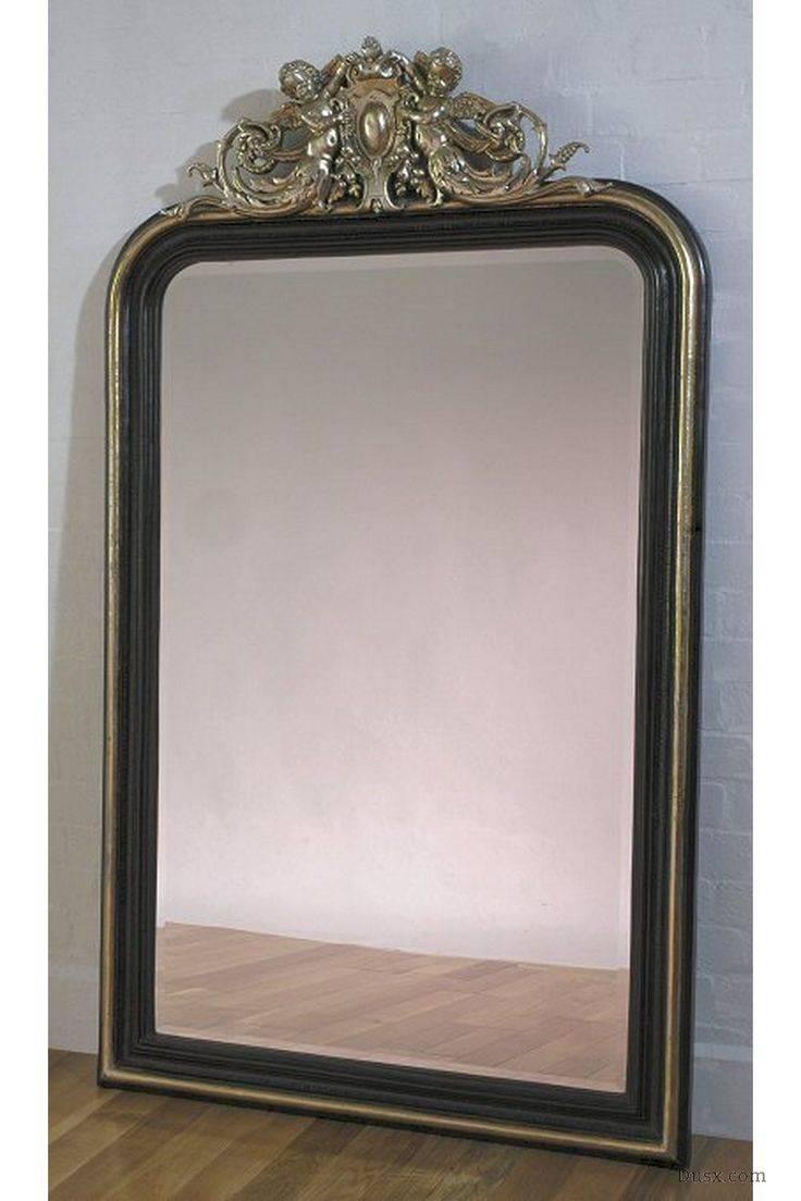 Mirror : Large Vintage Mirror Black Mirror Ornate Mirror Gothic intended for Black Vintage Mirrors (Image 8 of 15)