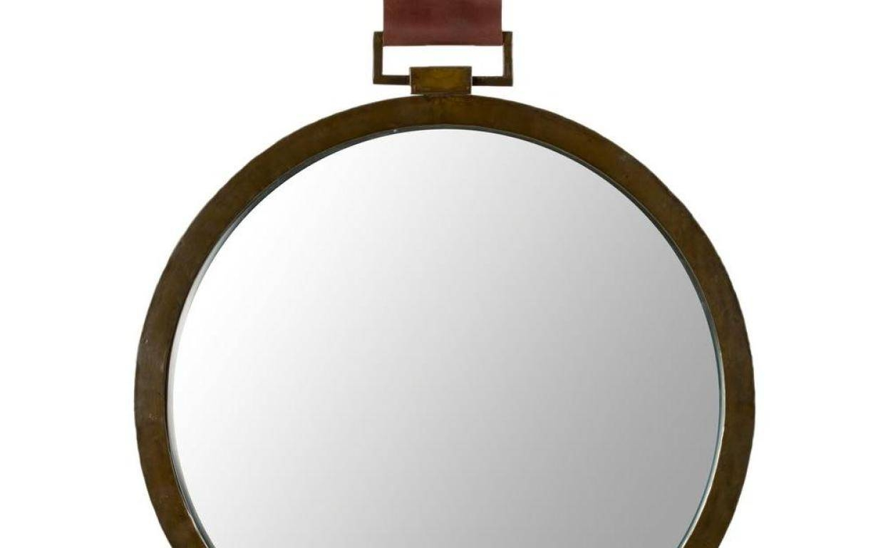 Mirror : Mirror With Leather Strap 81 Awesome Exterior With Round Intended For Round Leather Mirrors (View 12 of 15)