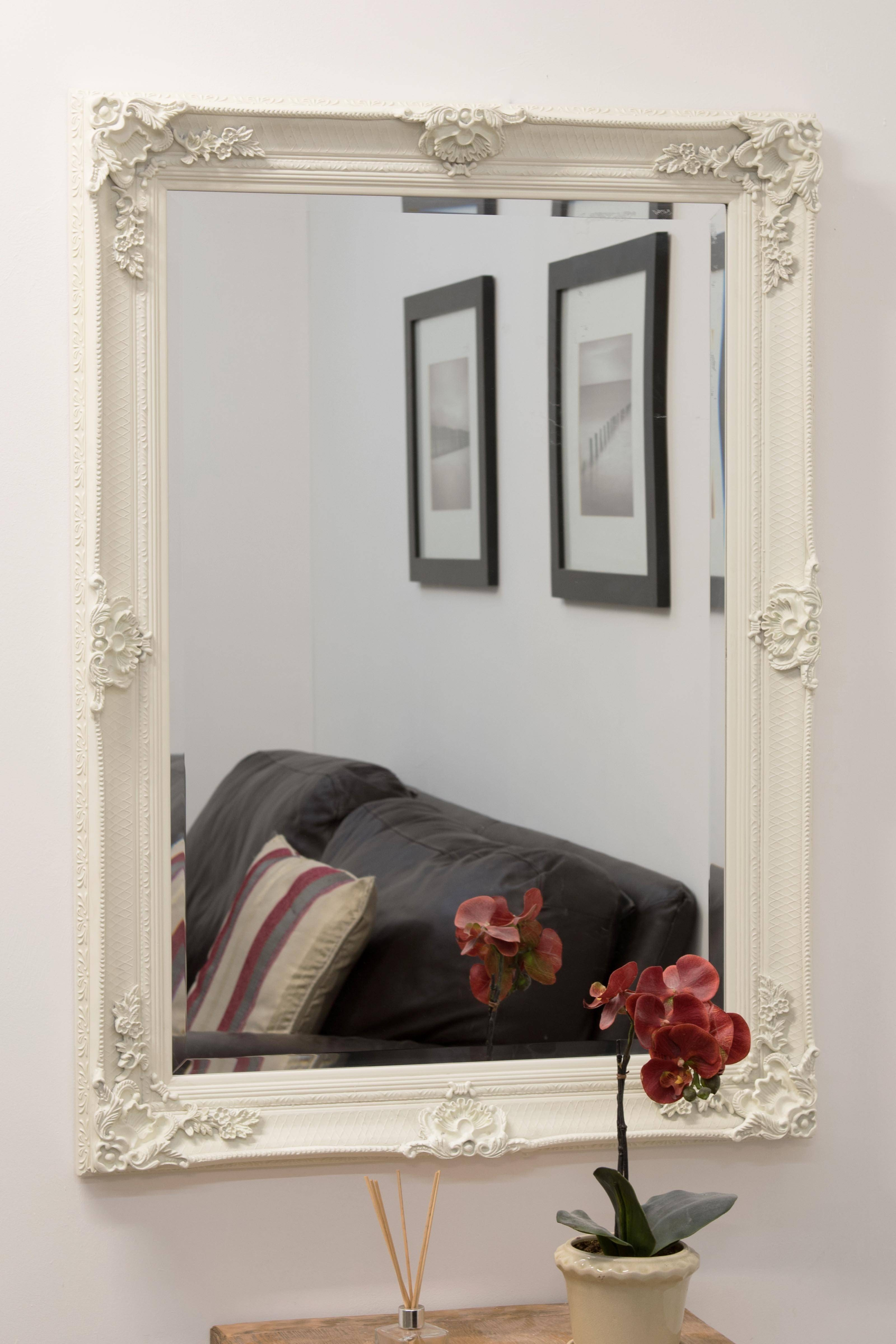 Mirror : Ornate French Style White Distressed Mirror Amazing pertaining to Large White French Mirrors (Image 10 of 15)