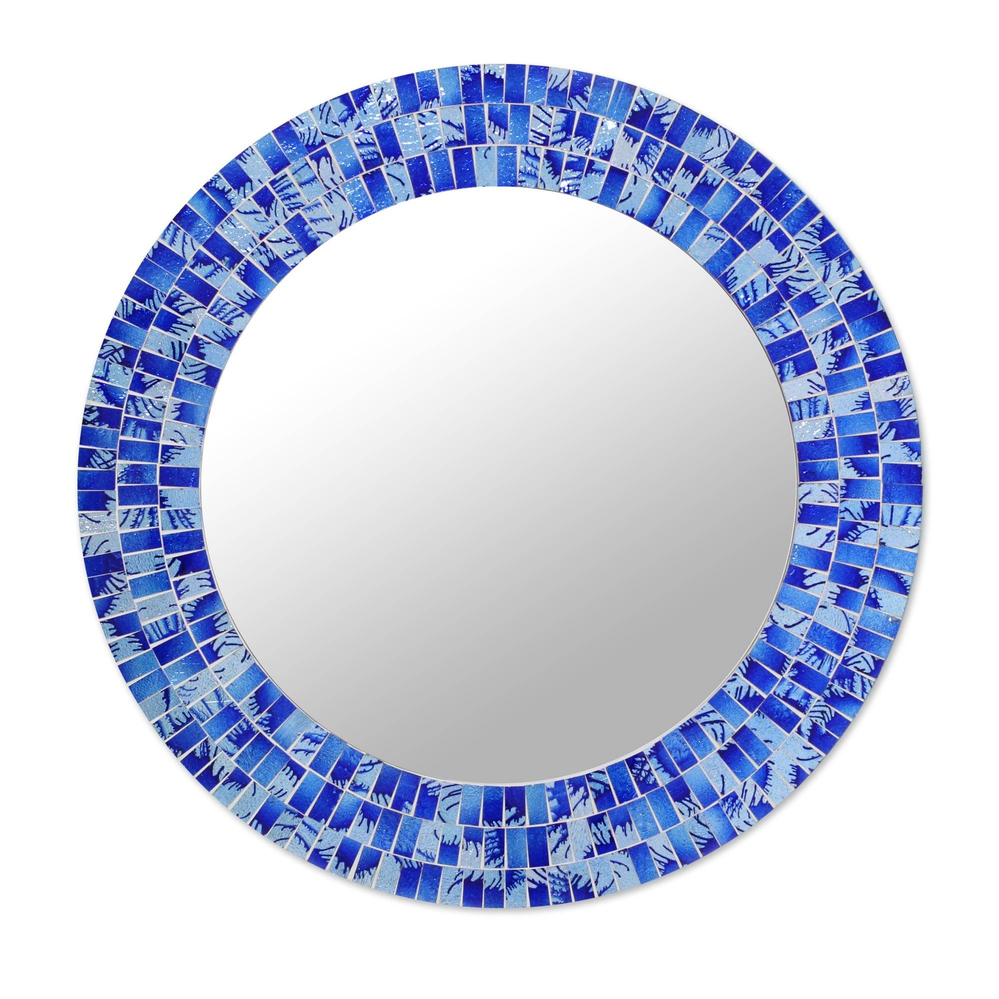 Mirror : Round Mirror Leather Remarkable' Cute' Favorite Round Regarding Blue Round Mirrors (View 10 of 15)