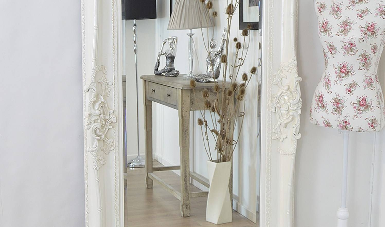 Mirror : Shabby Chic Floor Standing Mirror 79 Beautiful Decoration inside Shabby Chic Long Mirrors (Image 8 of 15)
