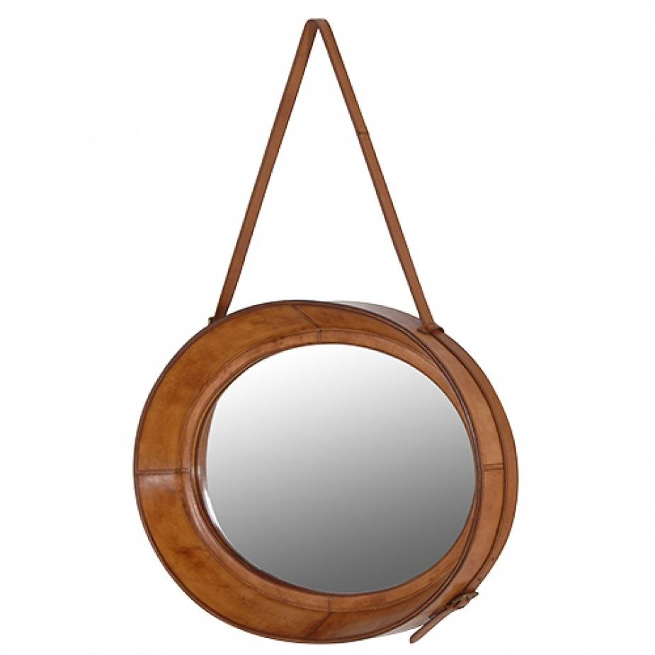 Mirror With Hanging Strap With Round Leather Mirrors (View 8 of 15)