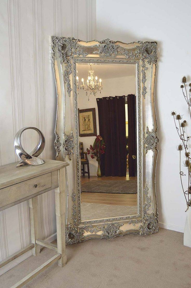 Mirror : X Large Antique Silver Shab Chic Ornate Decorative Wall in Big Shabby Chic Mirrors (Image 13 of 15)