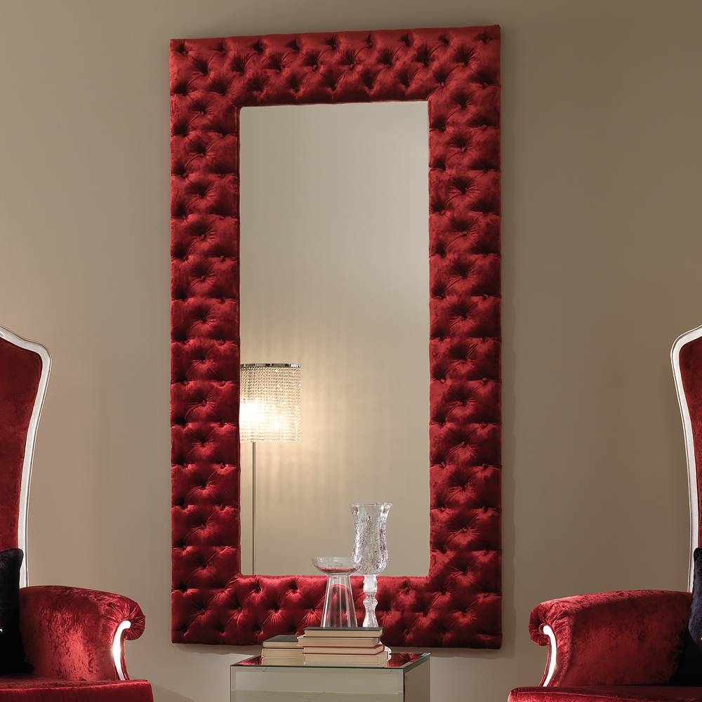 Modern Italian Red Velvet Button Upholstered Mirror | Juliettes With Regard To Red Wall Mirrors (View 2 of 15)