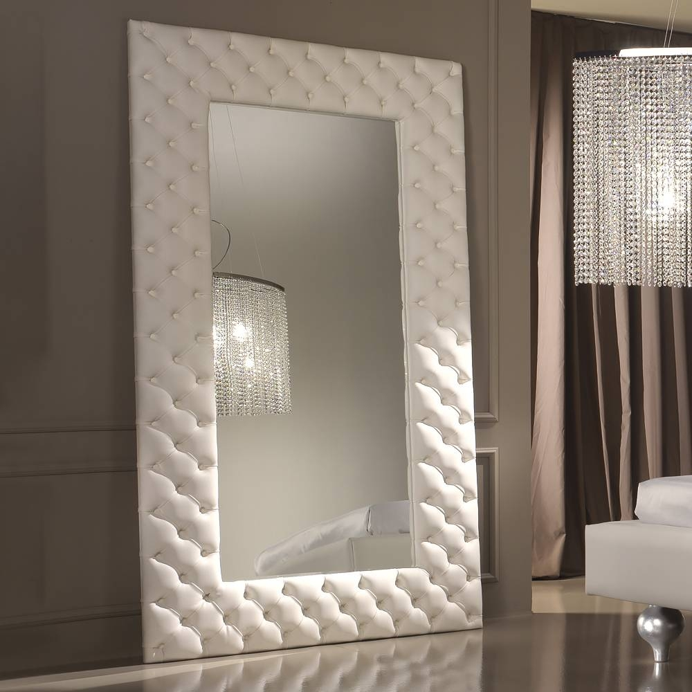 Modern Italian White Leather Upholstered Mirror | Juliettes With Regard To Wall Leather Mirrors (View 5 of 15)