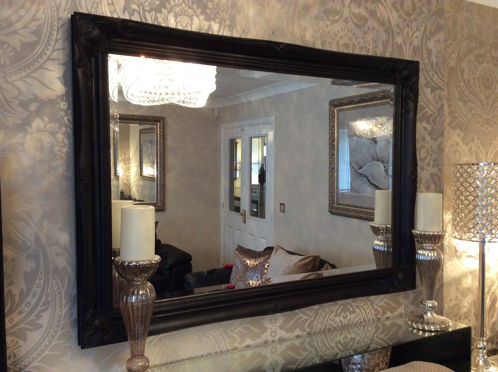 New Large Black Shabby Chic Bevelled Wall Mirror   36Inch X 26Inch Intended For Long Black Wall Mirrors (Photo 7 of 15)