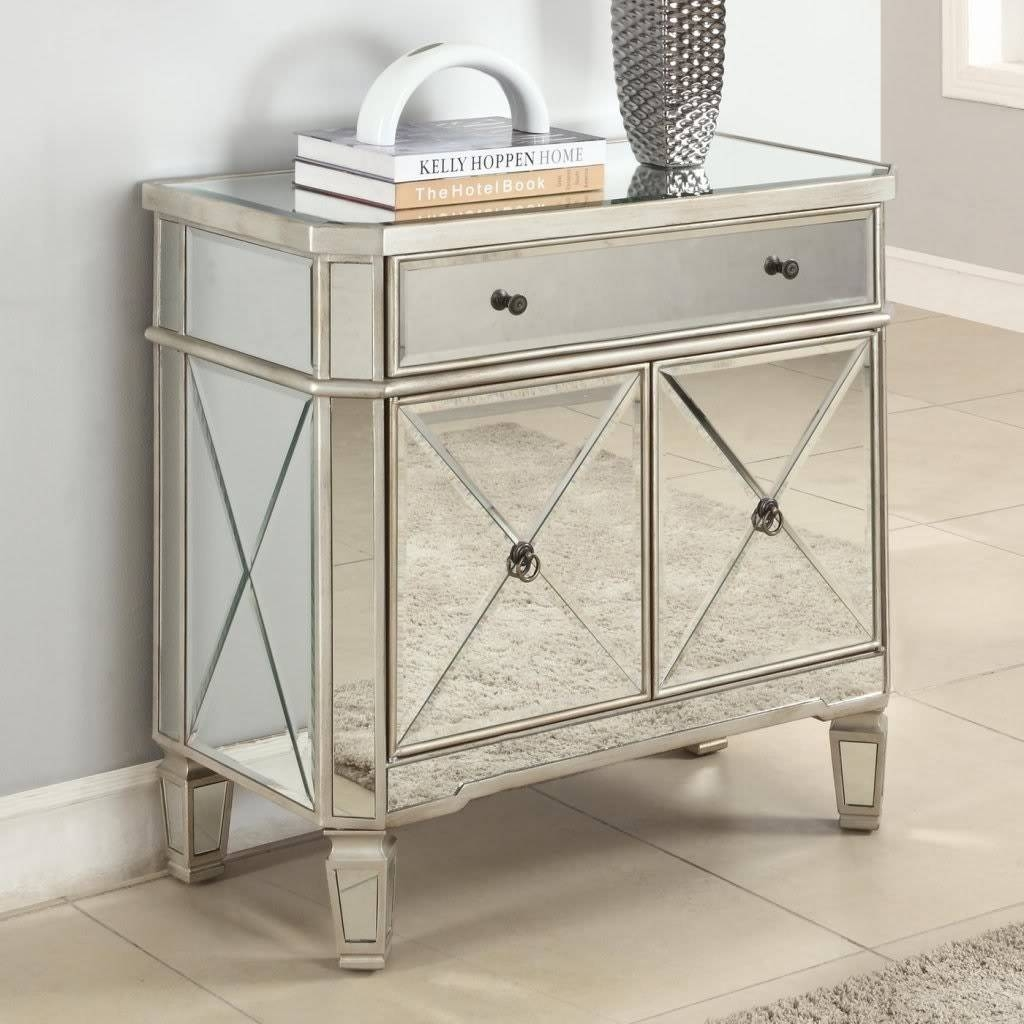 Nightstand : Cappuccino Nightstand Mirrored Chest Black Dark Brown With Bedside Tables Antique Mirrors (View 9 of 15)