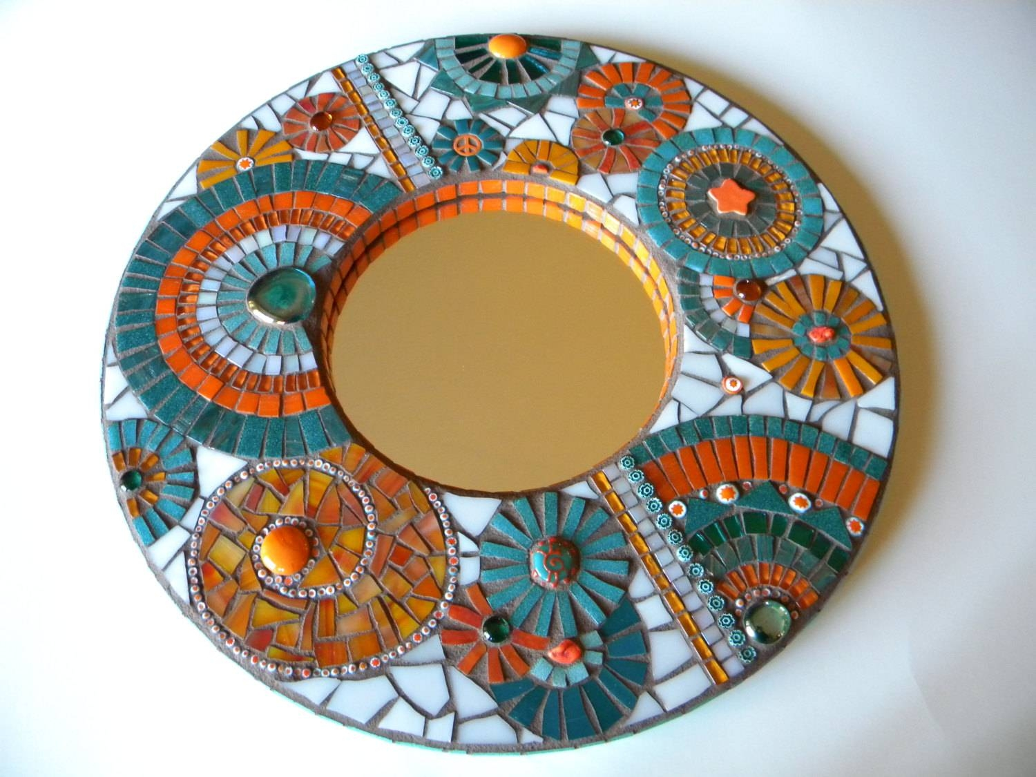 Orange & Teal Mosaic Mirror Home Decor Wedding Gift Miami With Regard To Round Mosaic Mirrors (View 3 of 15)