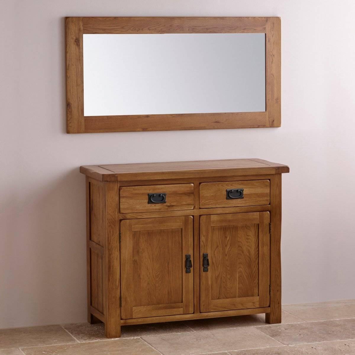 Original Rustic Wall Mirror In Solid Oak | Oak Furniture Land for Oak Wall Mirrors (Image 8 of 15)