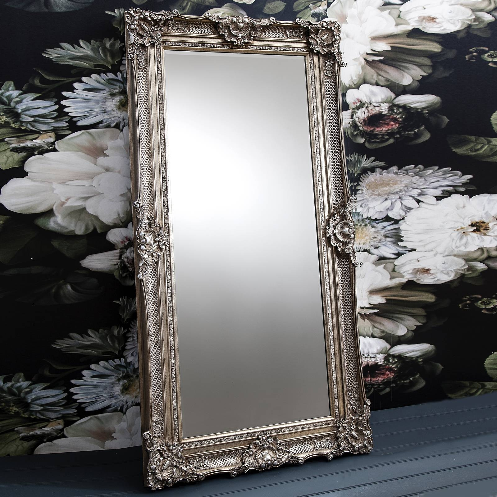 Ornate Antique Silver Floor Standing Mirror – Primrose & Plum with Ornate Floor Length Mirrors (Image 15 of 15)