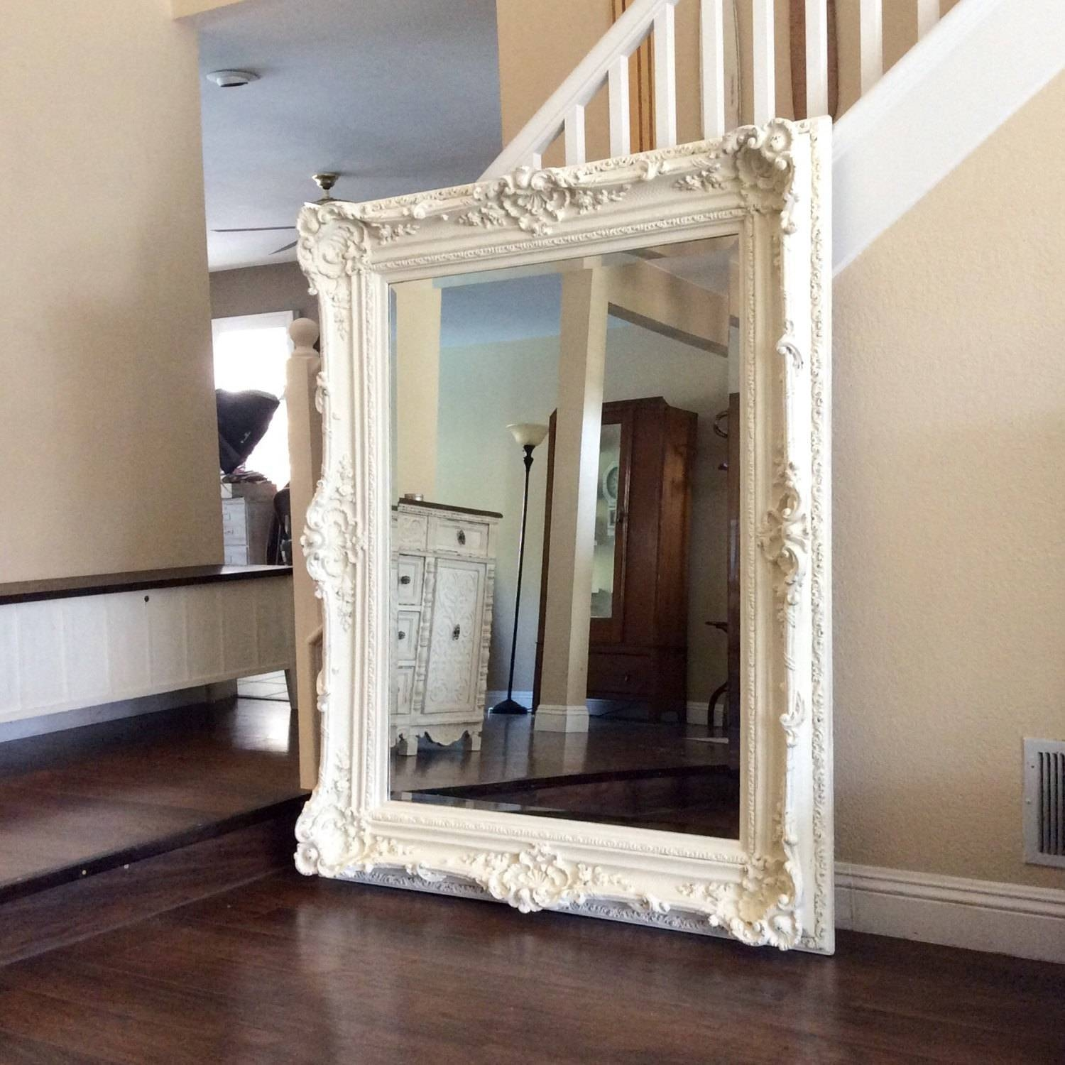Ornate Mirror For Sale, Large White Mirror, Shabby Chic Wall pertaining to Large White Shabby Chic Mirrors (Image 10 of 15)