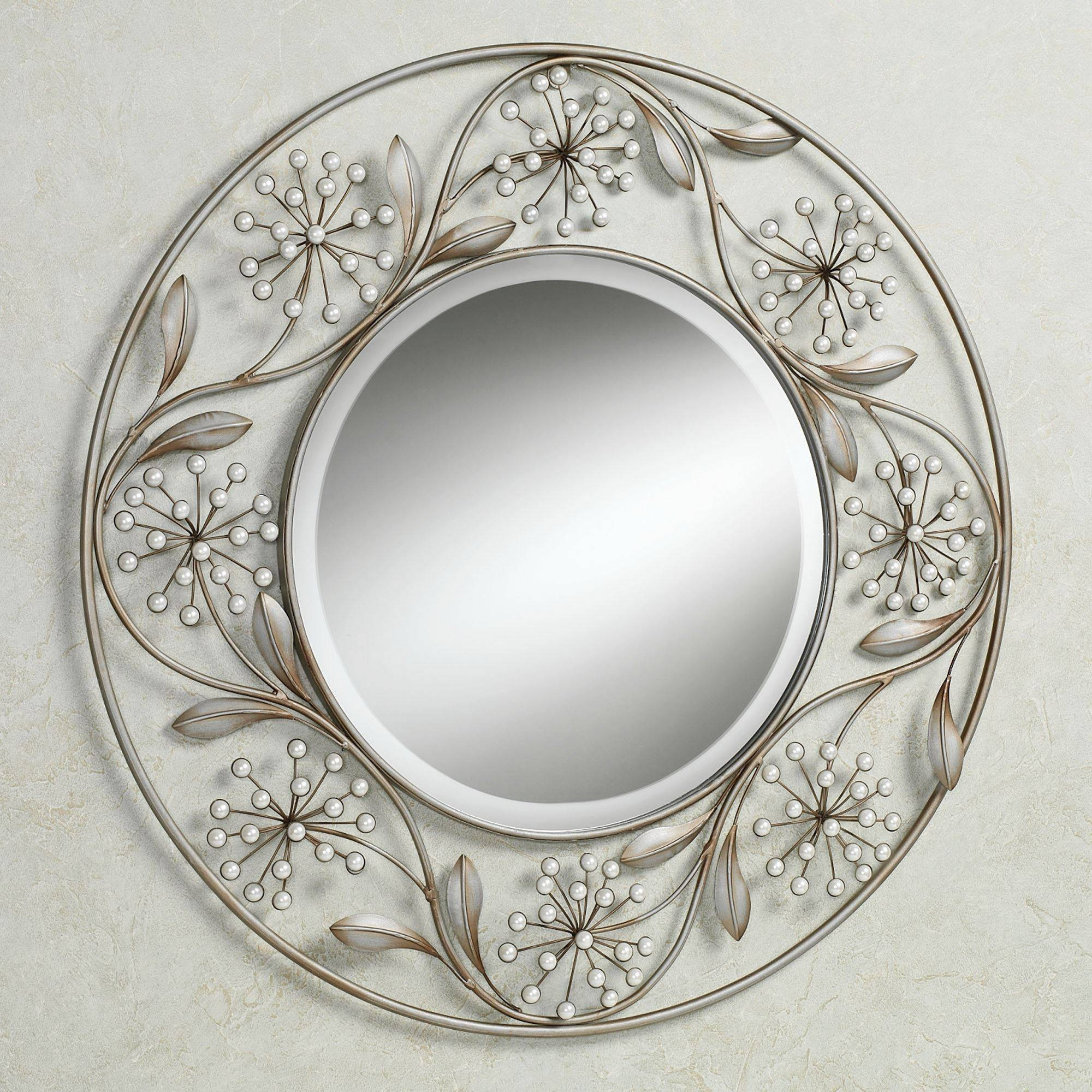 Pearlette Round Metal Wall Mirror inside Decorative Round Mirrors (Image 13 of 15)