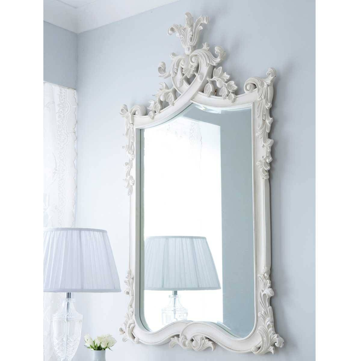 Provencal Heart Top White Mirror | Luxury Mirror in French White Mirrors (Image 9 of 15)