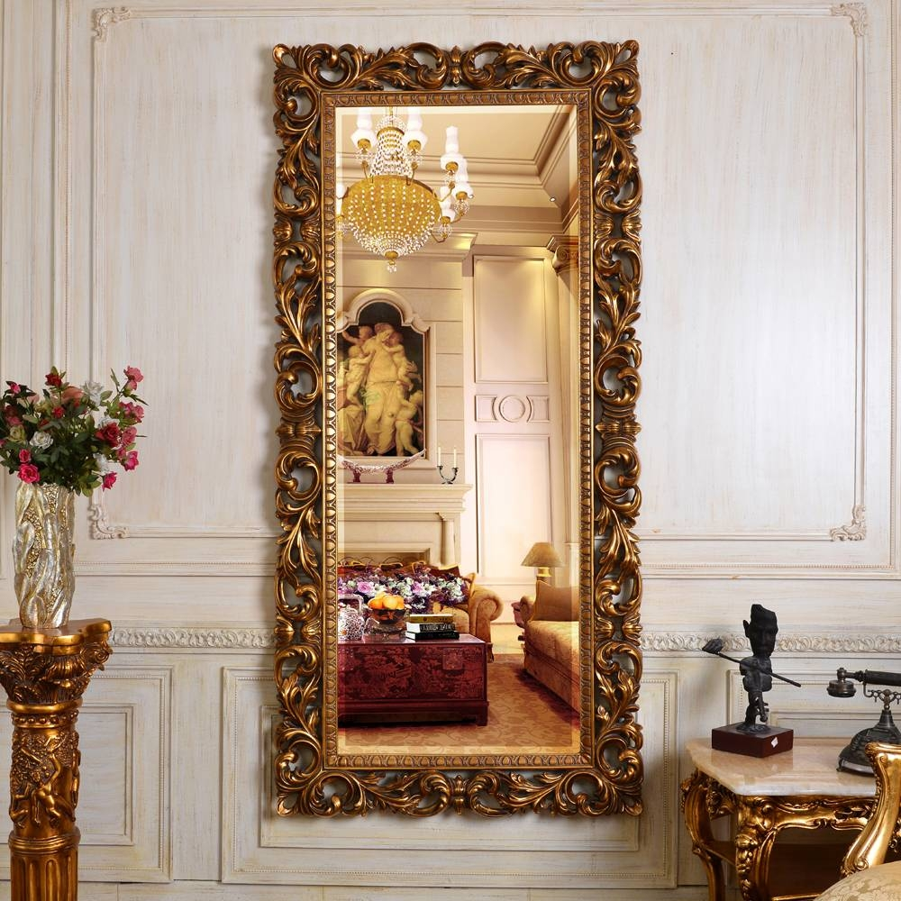 Pu613 China Factory Full Length Antique Gold Decorative Framed Inside Antique Full Length Wall Mirrors (View 2 of 15)
