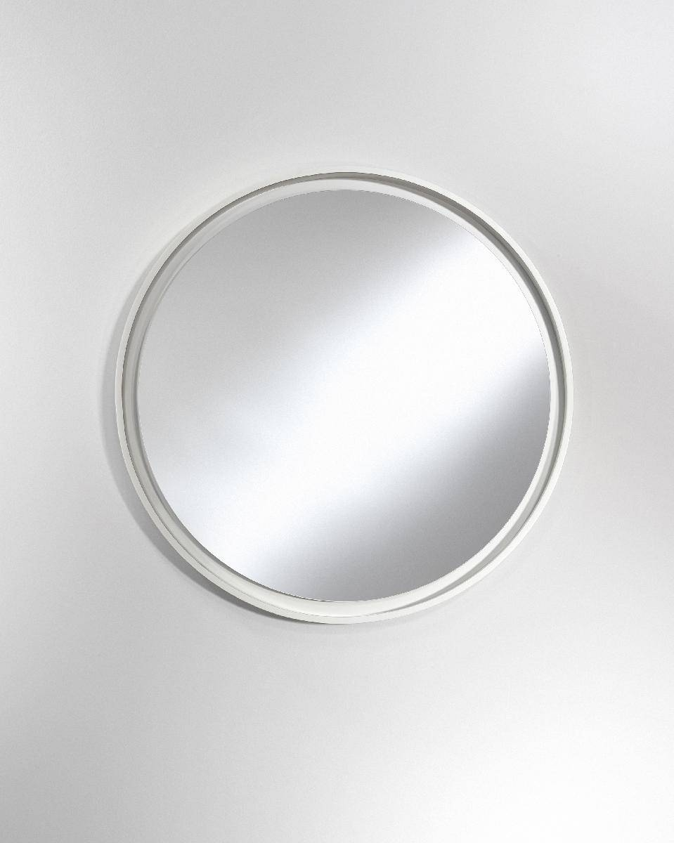 Radius Round Large White Mirror - Deknudt Mirrors (Framed Plain with Round White Mirrors (Image 6 of 15)