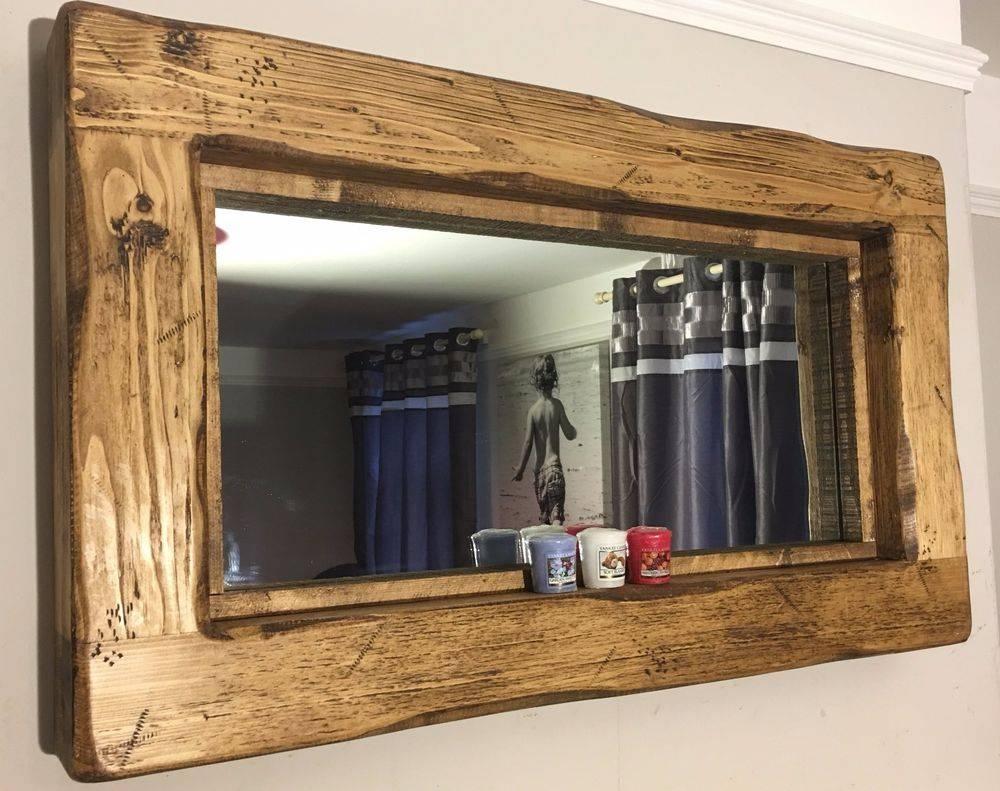 Reclaimed Wooden Rustic Farmhouse Wall Mirror Rugger Brown Wax regarding Oak Wall Mirrors (Image 9 of 15)