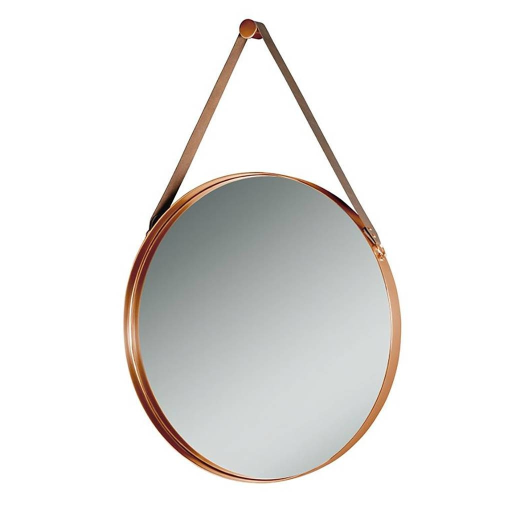 Round Copper And Leather Hanging Wall Mirrori Love Retro In Round Leather Mirrors (View 3 of 15)