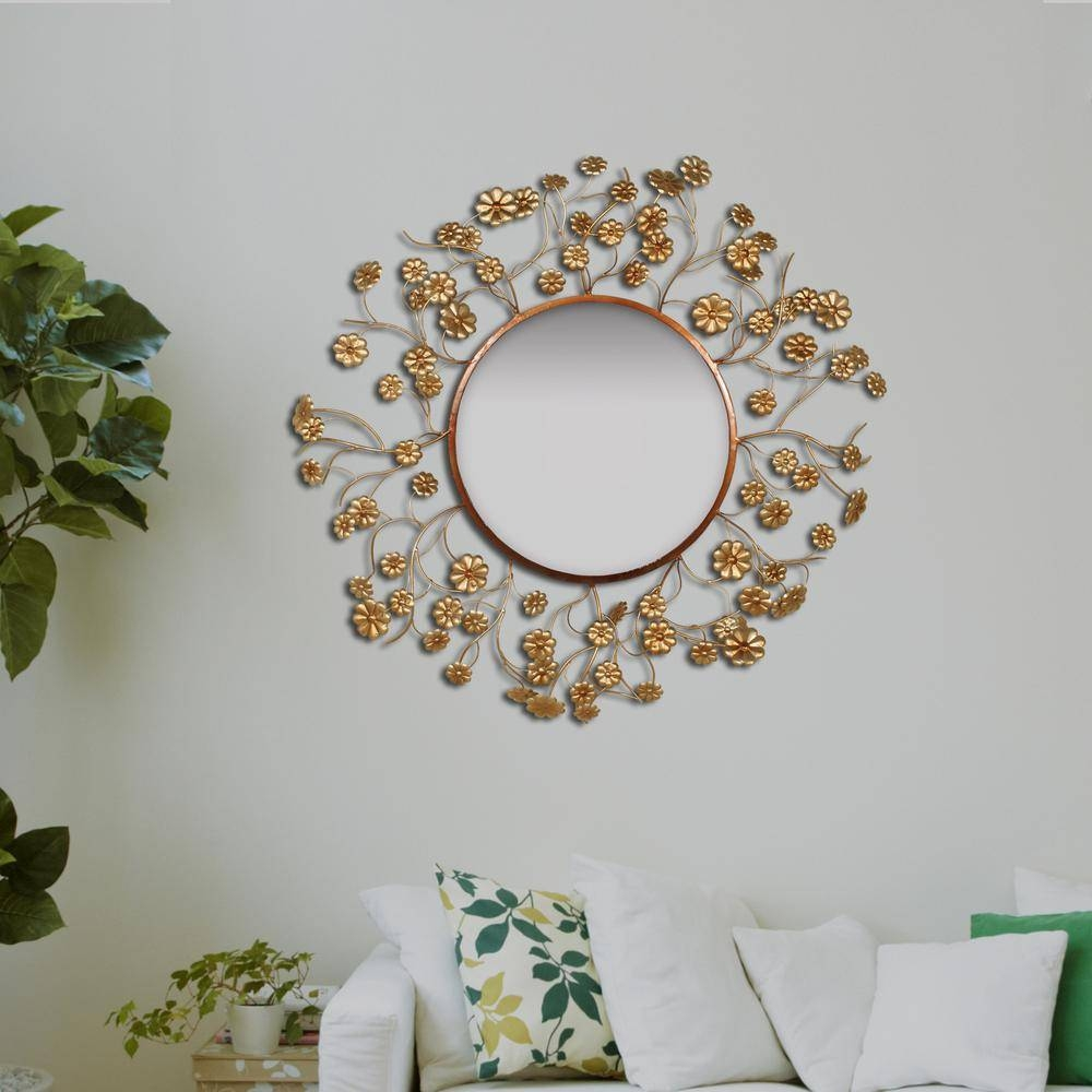 Round Floral Aged Gold Wall Mirror 2630 – The Home Depot Inside Gold Wall Mirrors (View 12 of 15)