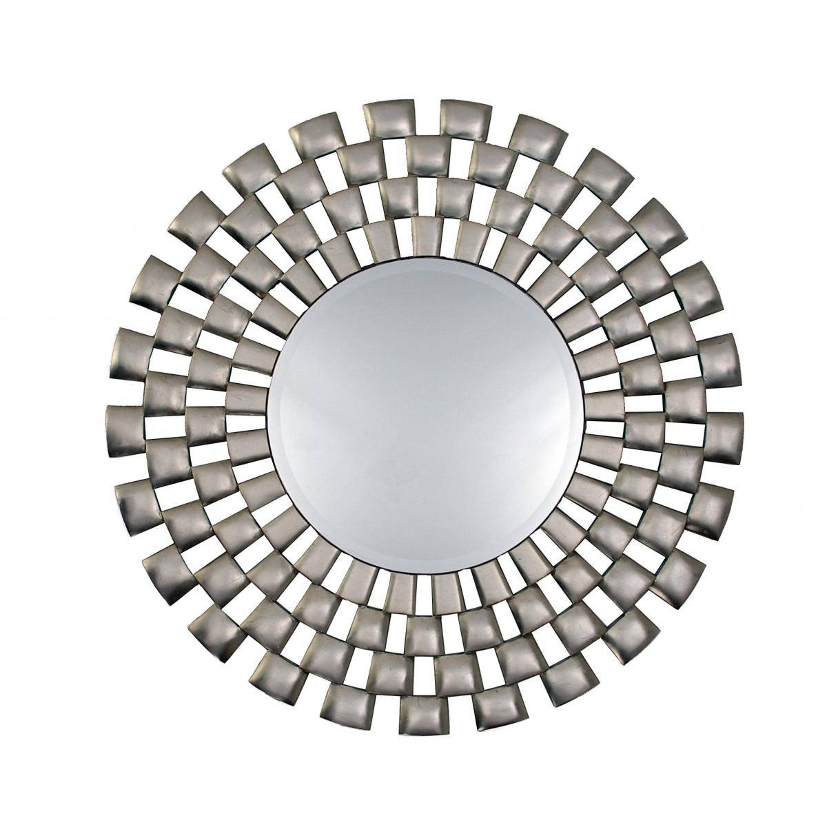 Round Framed Mosaic Style Silver Wall Mirror – £ (View 6 of 15)