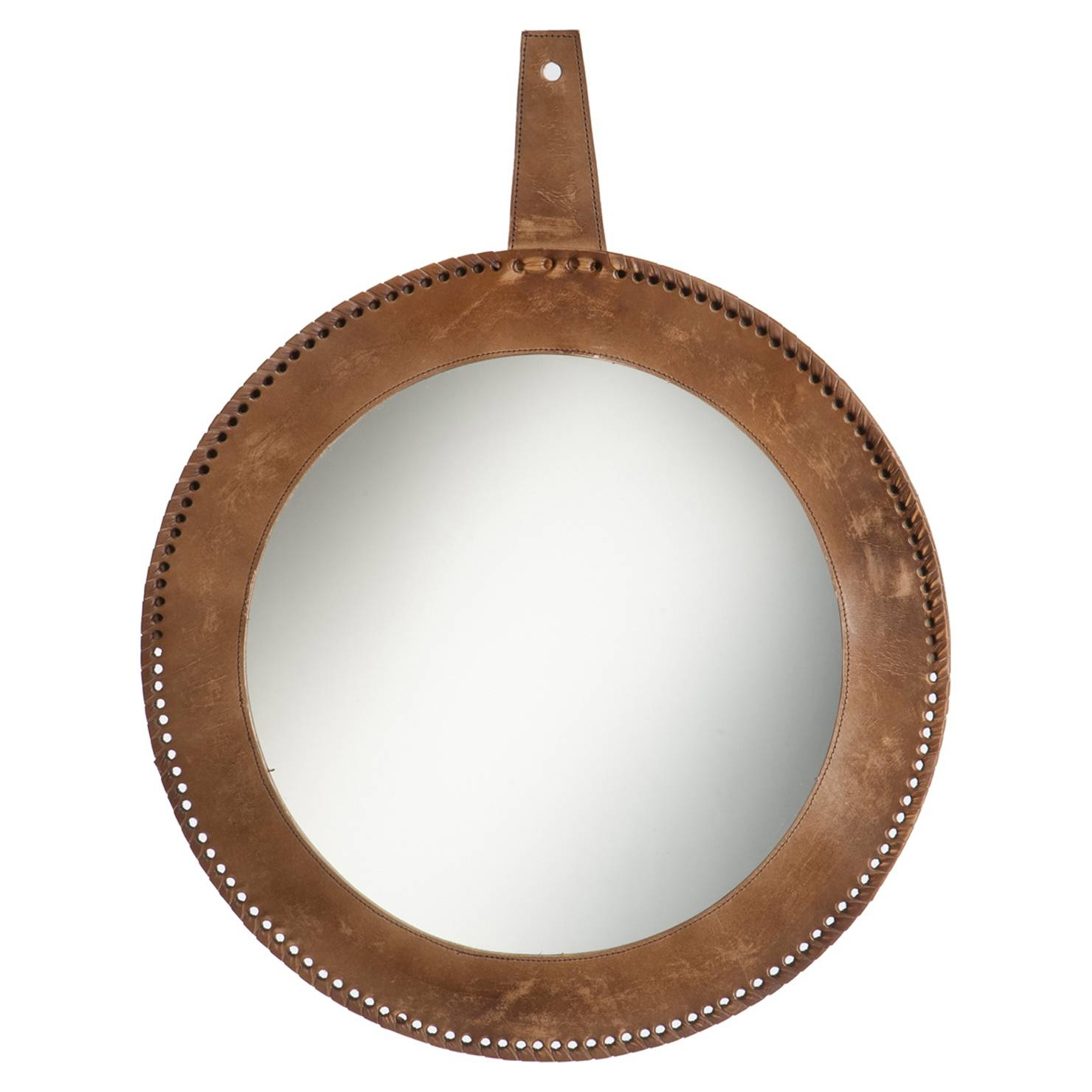 Round Leather Mirror, Brown | Achica Intended For Round Leather Mirrors (View 4 of 15)