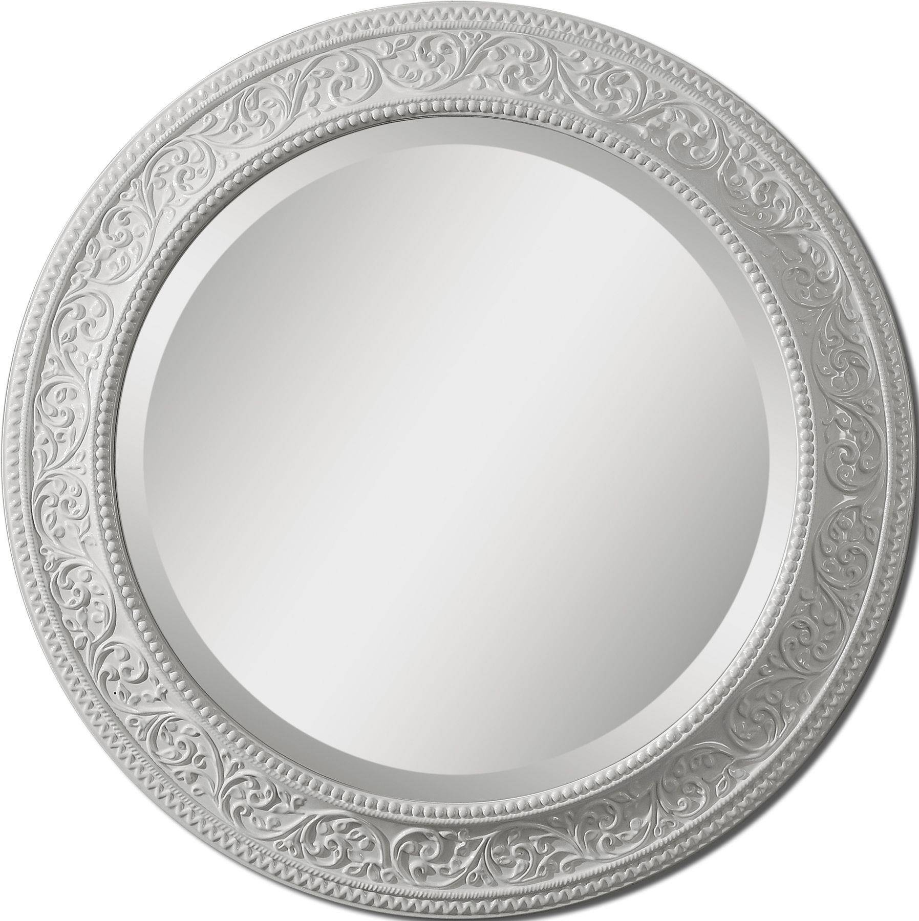 Round Mirror On Carved White Steel Frame Of Great Ideas Of Large throughout Round White Mirrors (Image 7 of 15)
