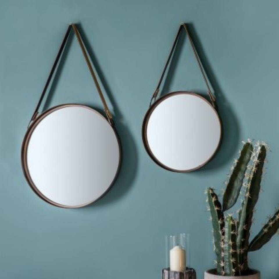 round leather mirror large round mirror with leather hanging strap grace and grey pertaining to mirrors top 15 of