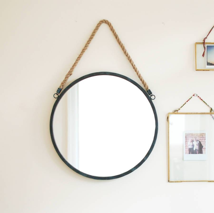 Round Rope Handled Gold Brass Scandi Porthole Mirrormade With Pertaining To Round Porthole Mirrors (View 4 of 15)