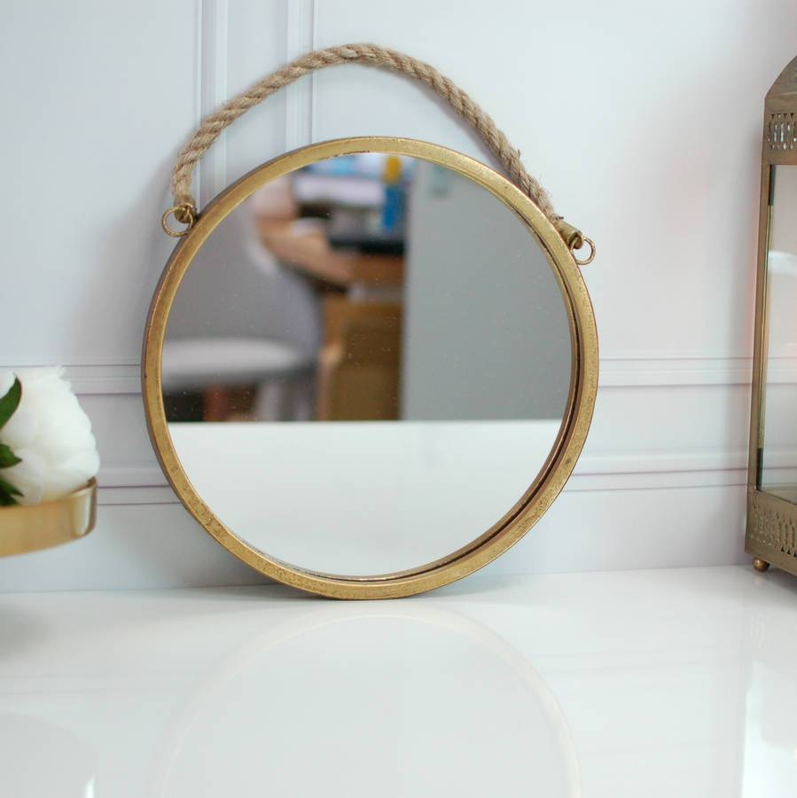 Round Rope Handled Gold Brass Scandi Porthole Mirrormade With Regarding Round Porthole Mirrors (View 9 of 15)