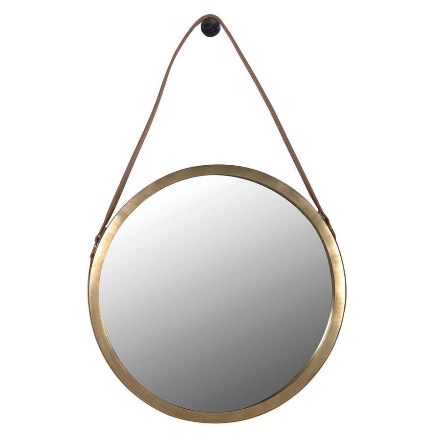 Round Wall Mirror With Leather Strapout There Interiors Inside Round Leather Mirrors (View 7 of 15)