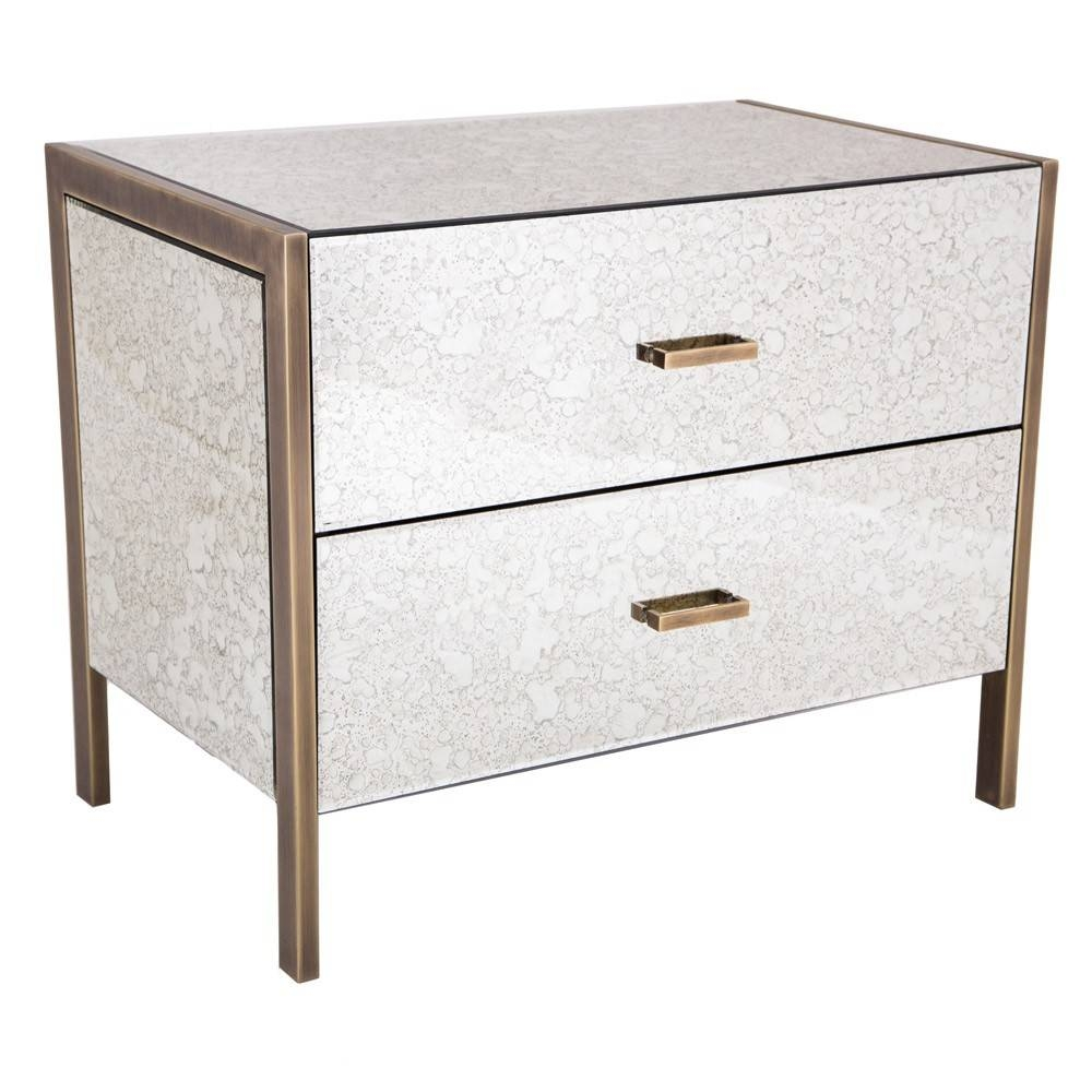 Rv Astley Antique Mirror 2 Drawer Bedside Brass | Houseology Throughout Bedside Tables Antique Mirrors (View 11 of 15)