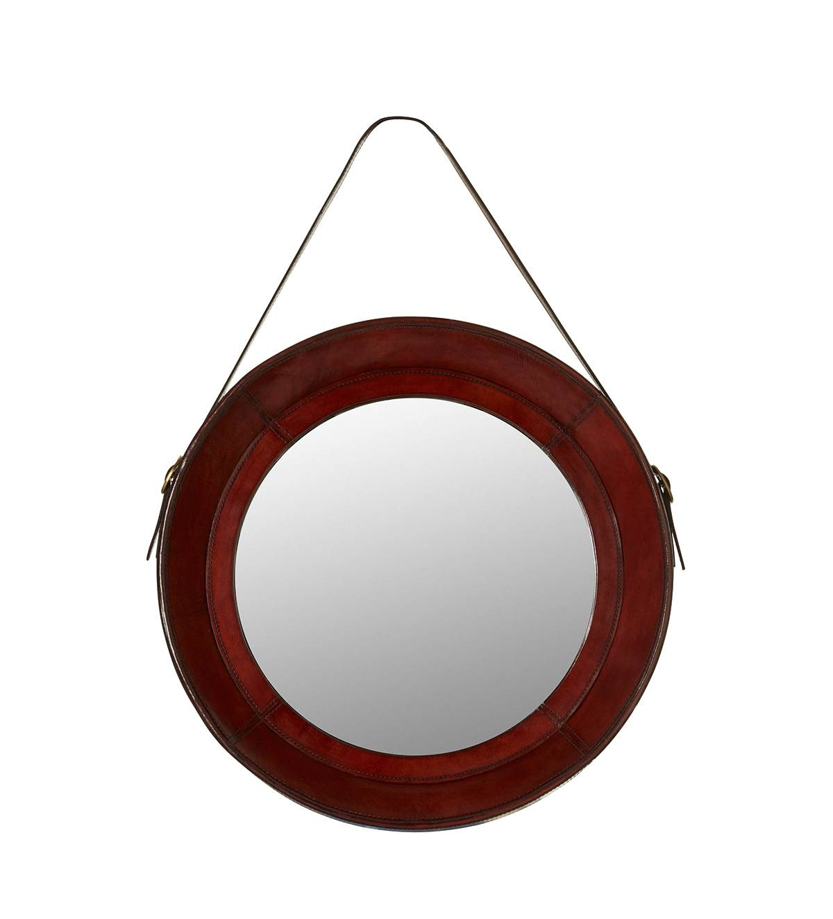 Saddle Leather Round Mirror – Oka With Round Leather Mirrors (View 5 of 15)