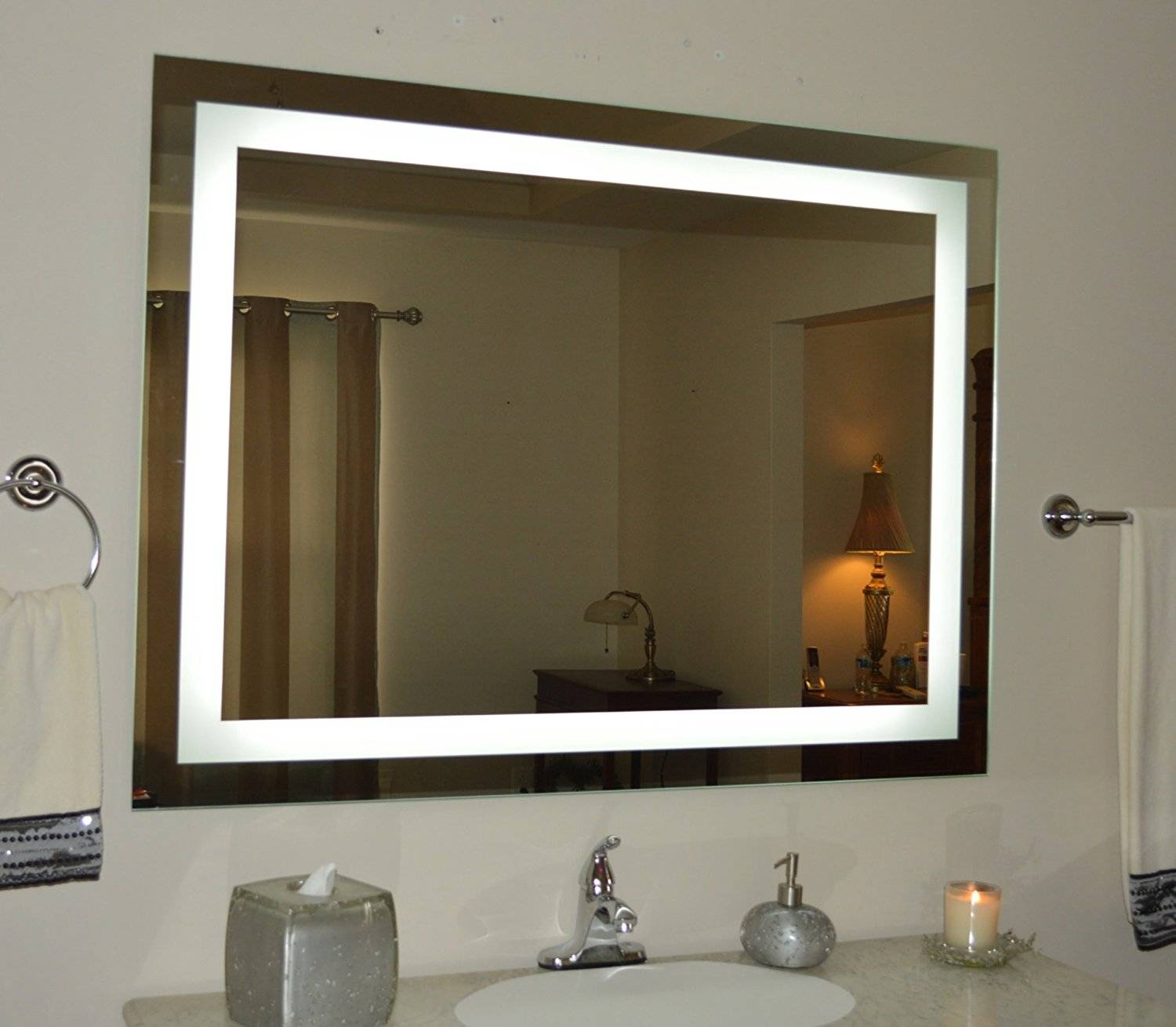 See The Difference With A Wall Mounted Light Up Mirror | Warisan Throughout Ceiling Light Mirrors (View 15 of 15)
