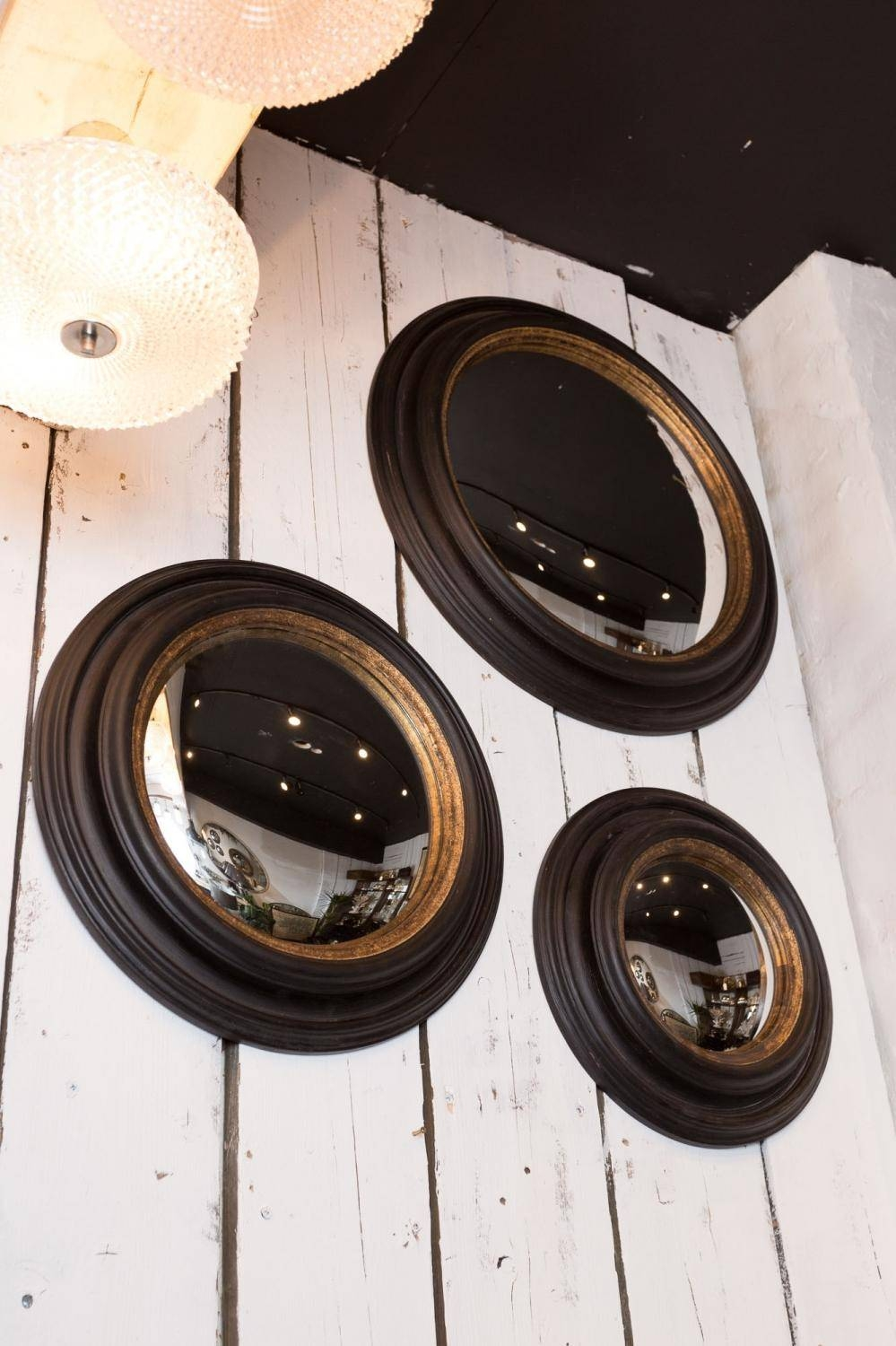 Set Of 3 Convex Mirror Frames – Decorative Collective Throughout White Convex Mirrors (View 12 of 15)