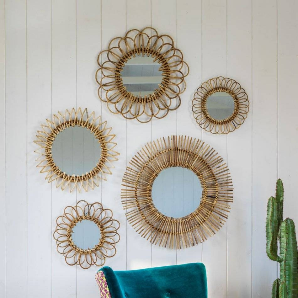 Set Of 5 Rattan Wall Mirrors | Mirrors | Graham And Green Pertaining To Mirrors (View 10 of 15)