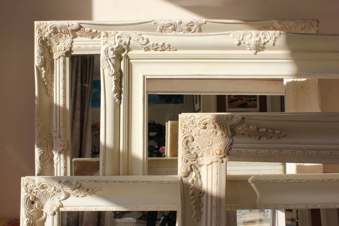 Shabby Chic Mirror Large – White Distressed Shabby Chic Mirror With Regard To Large Cream Mirrors (View 7 of 15)