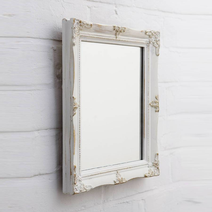 Shabby Chic White Mirror In Large White Antique Mirrors (View 14 of 15)