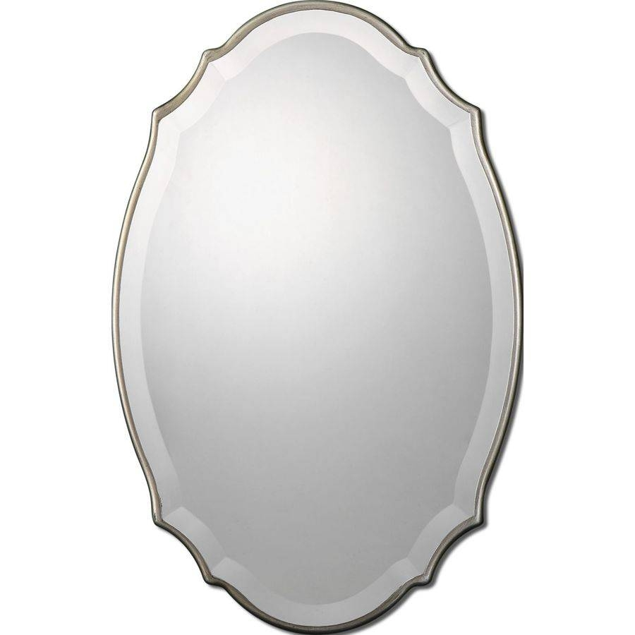 Shop Allen + Roth Silver Beveled Oval Wall Mirror At Lowes in Oval Bevelled Mirrors (Image 12 of 15)