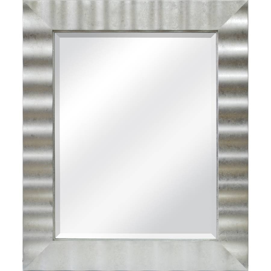 Shop Allen + Roth Silver Leaf Beveled Wall Mirror At Lowes in Long Silver Wall Mirrors (Image 11 of 15)