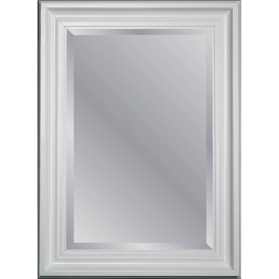 Shop Allen + Roth White Beveled Wall Mirror At Lowes For Square Bevelled Mirrors (View 12 of 15)