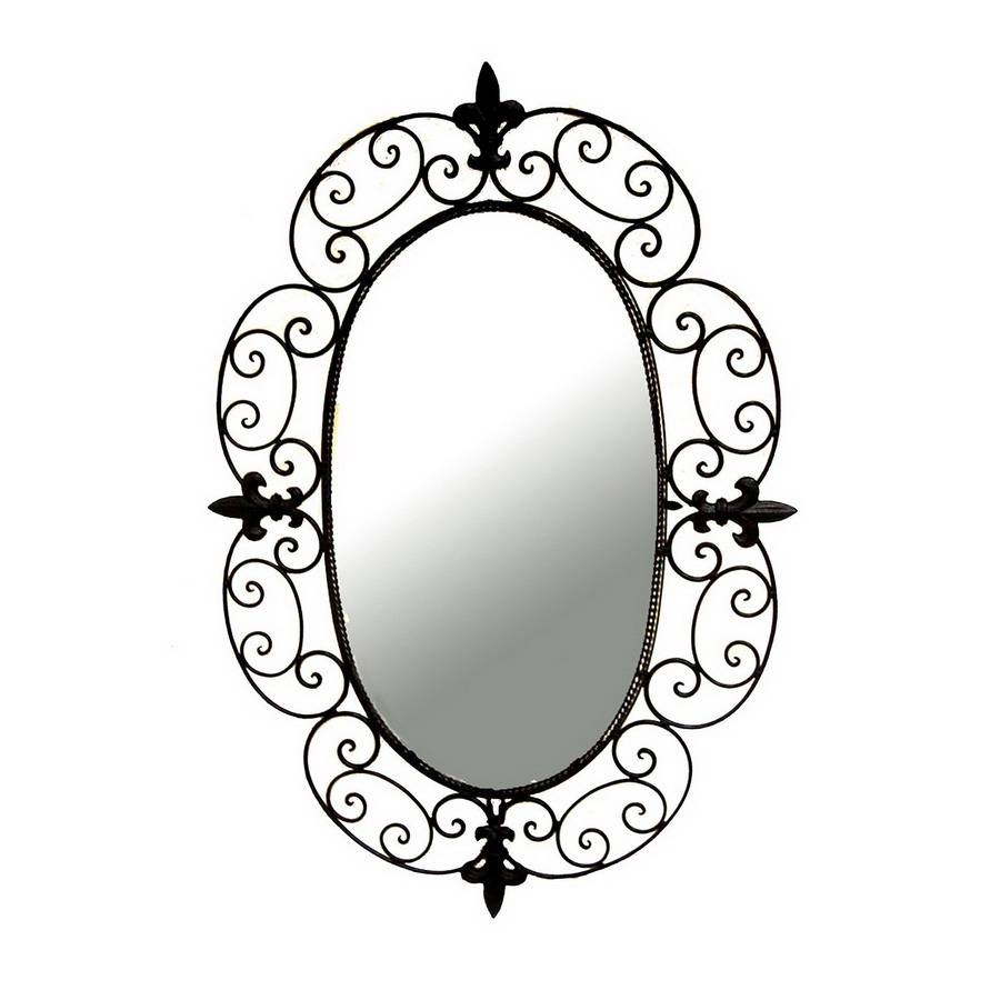 Shop Ashton Sutton 20 In X 29 In Wrought Iron Oval Framed Wall Within Rod Iron Mirrors (View 11 of 15)