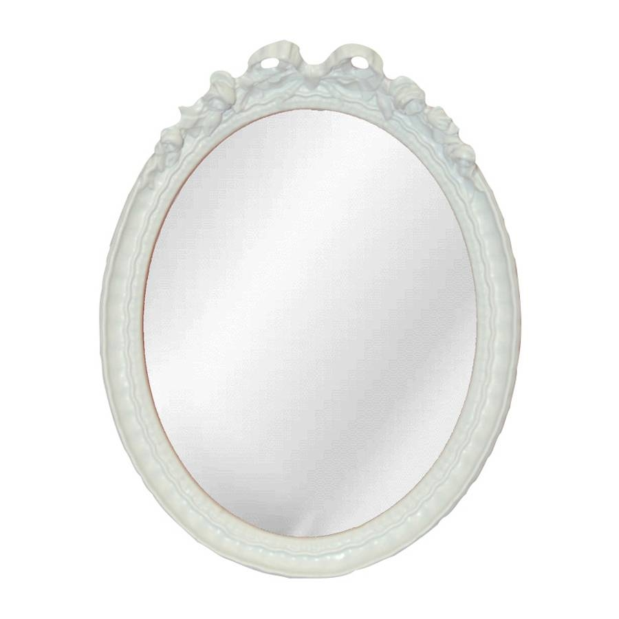 Shop Hickory Manor House Bow Bright White Polished Oval Wall inside Oval White Mirrors (Image 14 of 15)