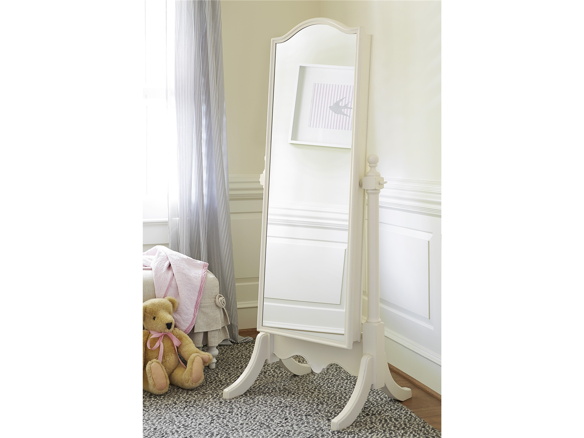 Smartstuff Cheval Mirror | French White – Cuddlebugzz for French White Mirrors (Image 13 of 15)