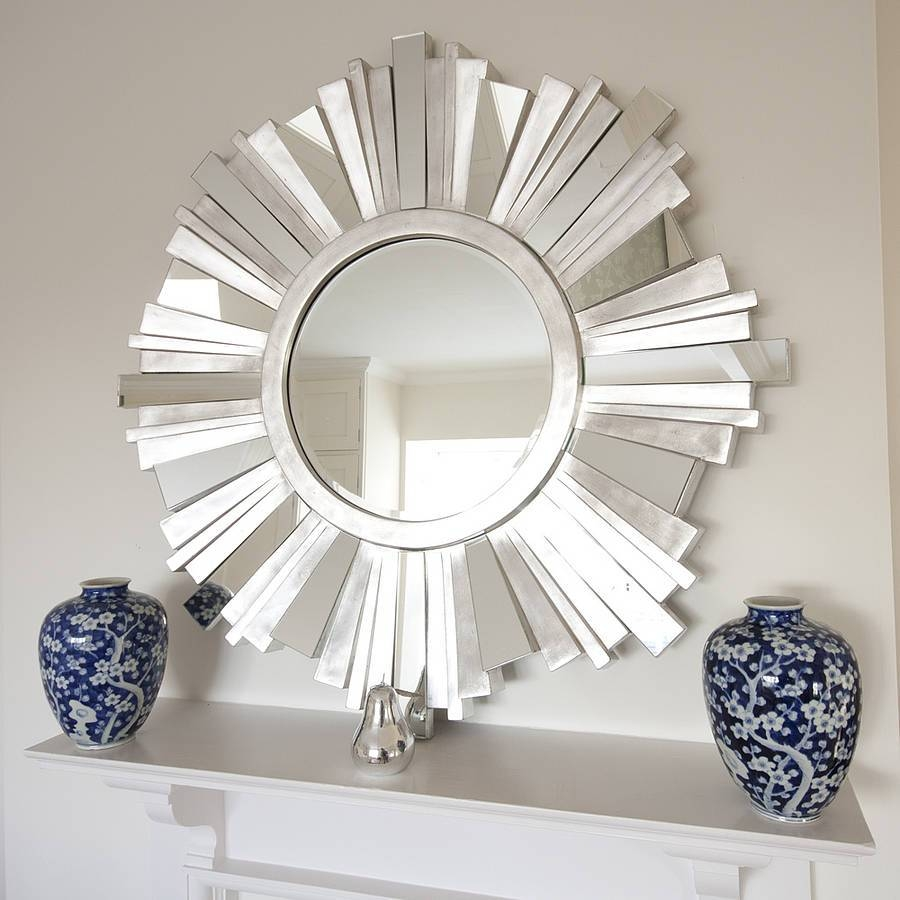 Striking Silver Contemporary Mirrordecorative Mirrors Online in Funky Round Mirrors (Image 13 of 15)