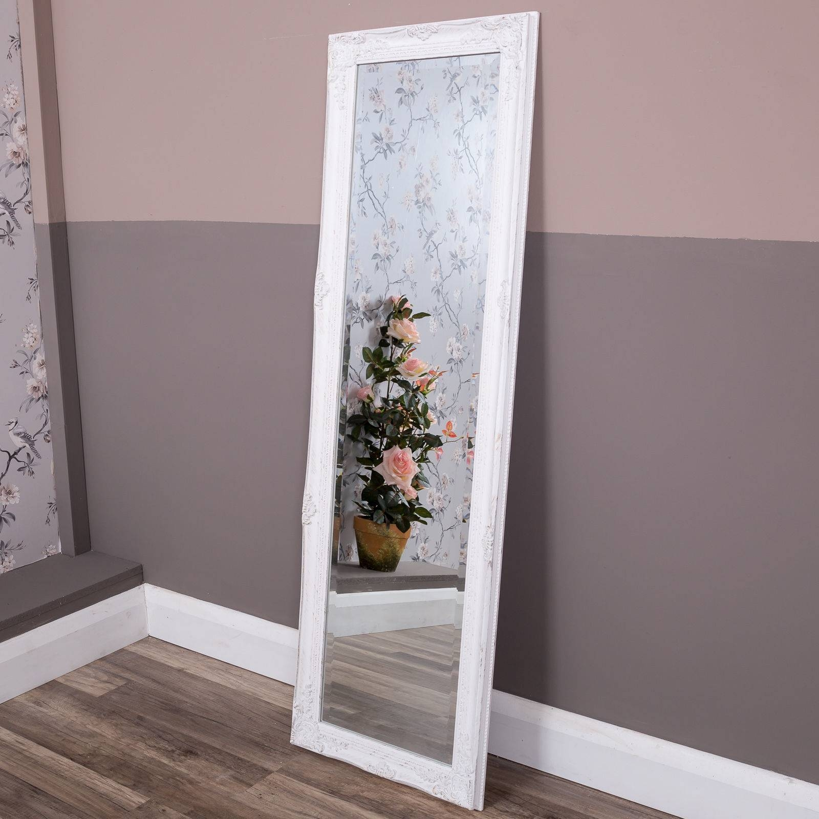 Tall Slim White Wall Mirror Full Length Shabby Vintage Chic Within Antique Full Length Wall Mirrors (View 12 of 15)