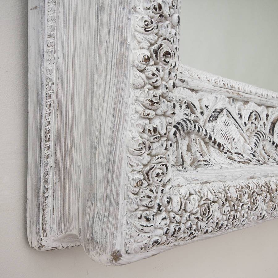 Two Metre Large 'shabby Chic' Whitewashed Mirrordecorative With Regard To Shabby Chic White Mirrors (View 15 of 15)
