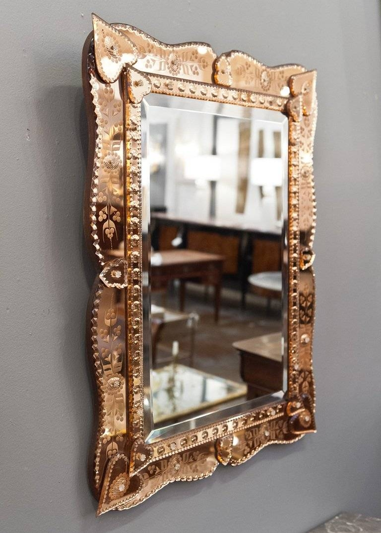 Venetian Mirror With Copper Mirror Frame At 1stdibs Pertaining To Venetian Beaded Mirrors (View 8 of 15)