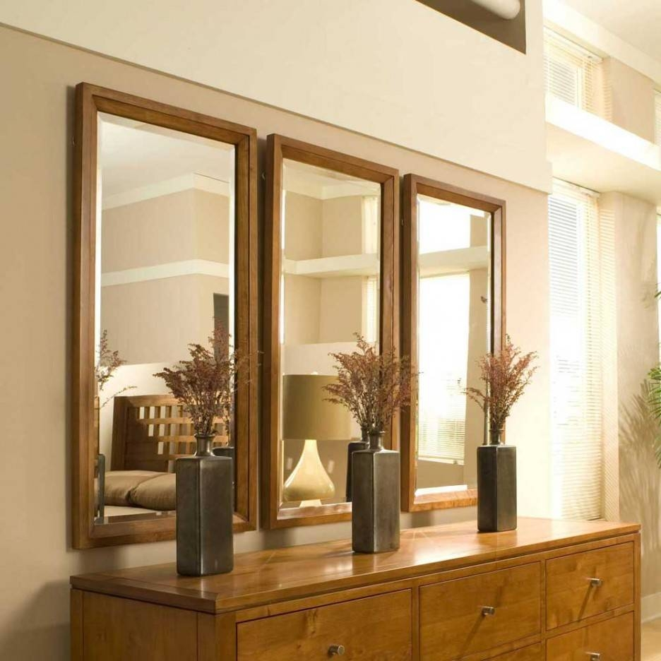 Vertical Rectangle Wooden Reclaimed Triple Wall Mirrors Regarding Triple Wall Mirrors (View 7 of 15)