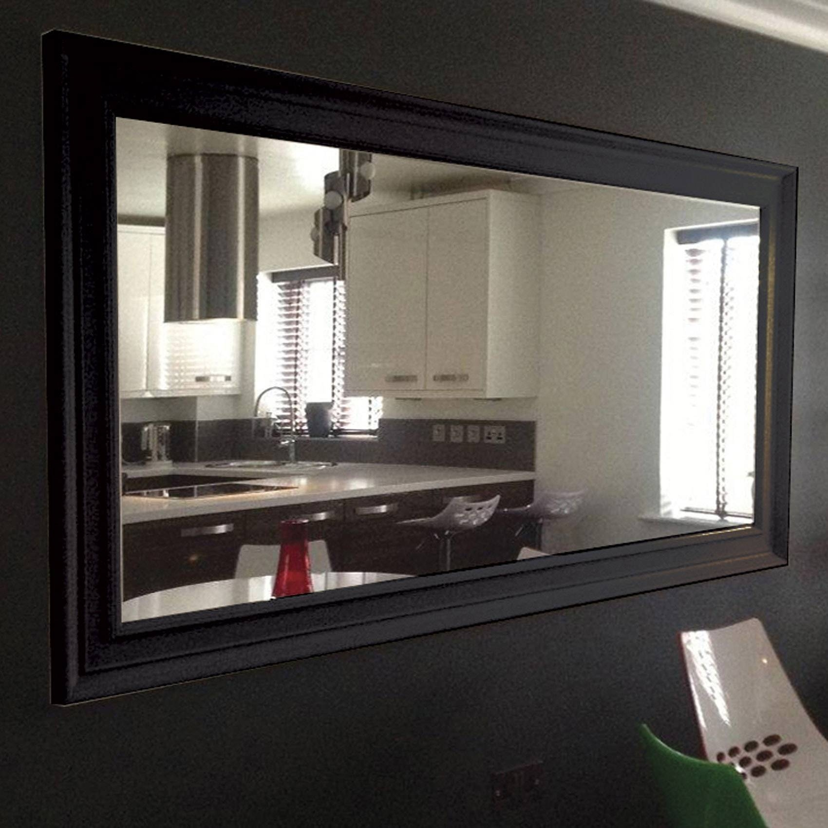 Very Large Black Framed Wall Mirror 206Cm X 145Cm | Black Mirrors with Long Black Wall Mirrors (Image 14 of 15)