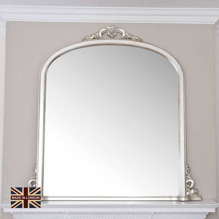 Victoria Overmantel Antique Silver Or Blackdecorative Mirrors Pertaining To Champagne Silver Mirrors (View 8 of 15)