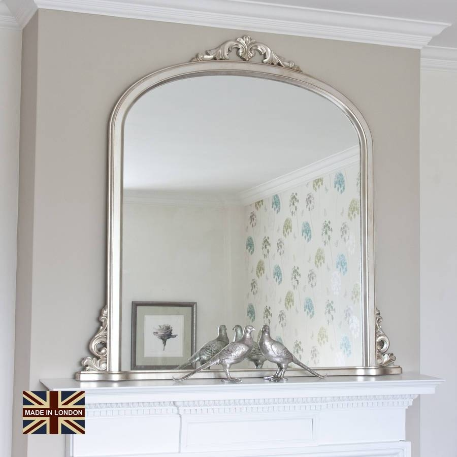 Victoria Overmantel Antique Silver Or Blackdecorative Mirrors Regarding Over Mantel Mirrors (View 2 of 15)